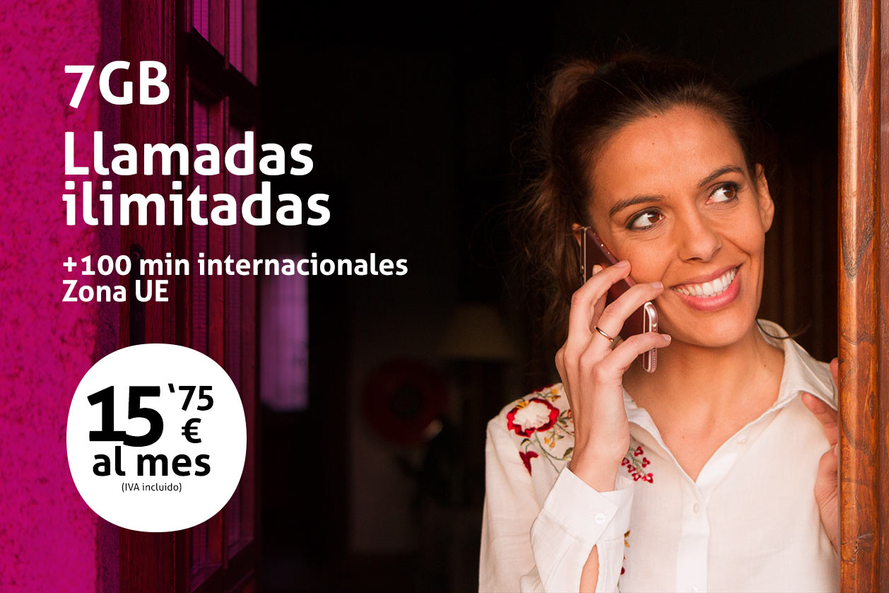 Tarifa móvil 7GB llamadas ilimitadas 15,75€ al mes
