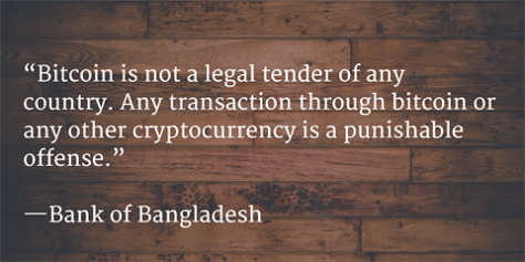 Bitcoin is not a legal tender of any country