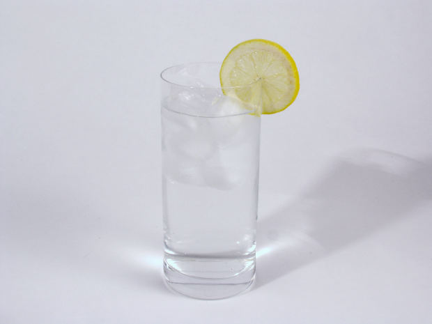 Water glass with lemon by mconnors at Morguefile.com
