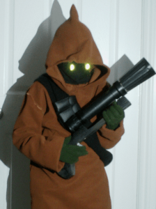 Homemade Jawa Halloween Costume with Glowing Eyes and Ionization Blaster