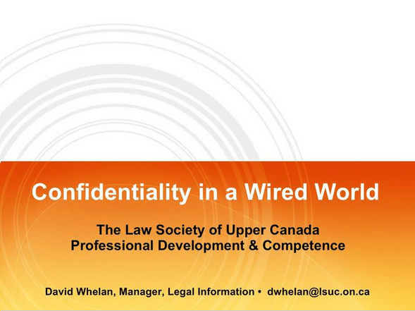 Slide Deck Cover for Confidentiality in a Wired World