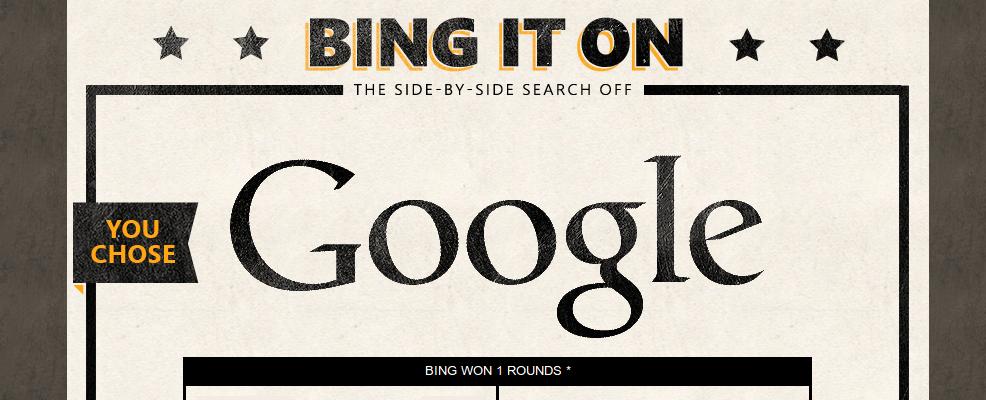 Google Wins in Bing it On