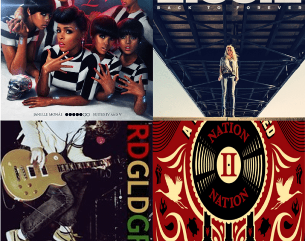 Album Covers for The Electric Lady - Janelle Monae, Back to Forever - Lissie, RDGLDGRN, and Nation II Nation - A Tribe Called Red