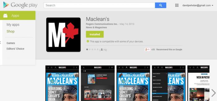 Maclean's Magazine original Android app