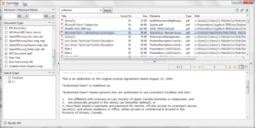 """Docfetcher screenshot showing search for """"collection"""" and list of documents and preview window."""
