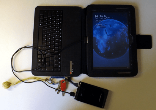 Samsung Android tablet charging with RAV Element external battery using NomadGoods charge key to charge Bluetooth keyboard