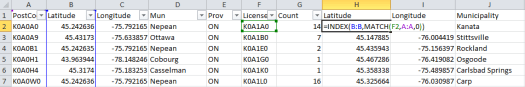 Using INDEX and MATCH to pull data from a third column