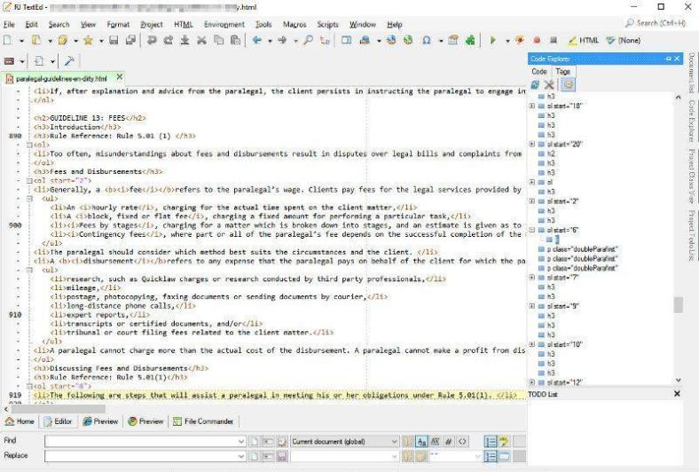 RJ Text Editor with code explorer open on the left.  A good editor for many different programming languages.