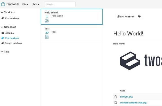 Paperwork is an open source web-based note taking tool similar to OneNote or Evernote