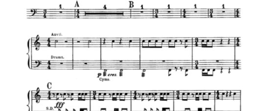A screenshot of the score for Holst's Second Suite in F, showing the anvil part