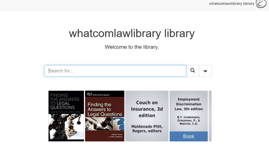 Screenshot of Librarything search page for Whatcom County (WA) Law Library