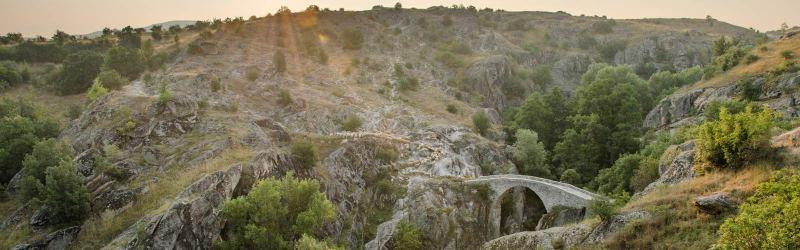 Panorama -Stone bridge near village Zovik, Mariovo, Macedonia
