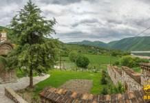 Panoramic photo of Polog Monastery and Tikvesh Lake