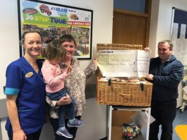 Margo Dunworth, Clinical Maternity Manager at the Regional Maternity Hospital, receiving a cheque for €2,000 from Caitlin Fahey, her father Roderick Fahey and her mother Catriona Fahey representing Ryans Cleaning, Thurles.