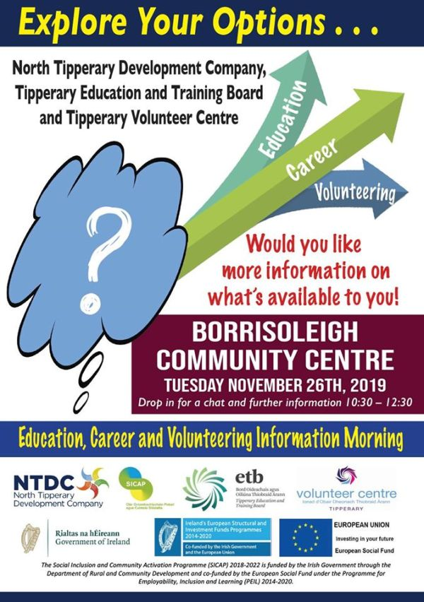 Explore Your Options - Education, Careers and Volunteering information event to be held in Borrisoleigh
