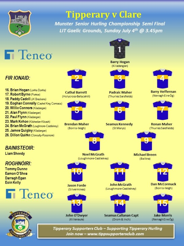 Tipperary Team to play Clare in Munster Senior Hurling Championship Semi Final