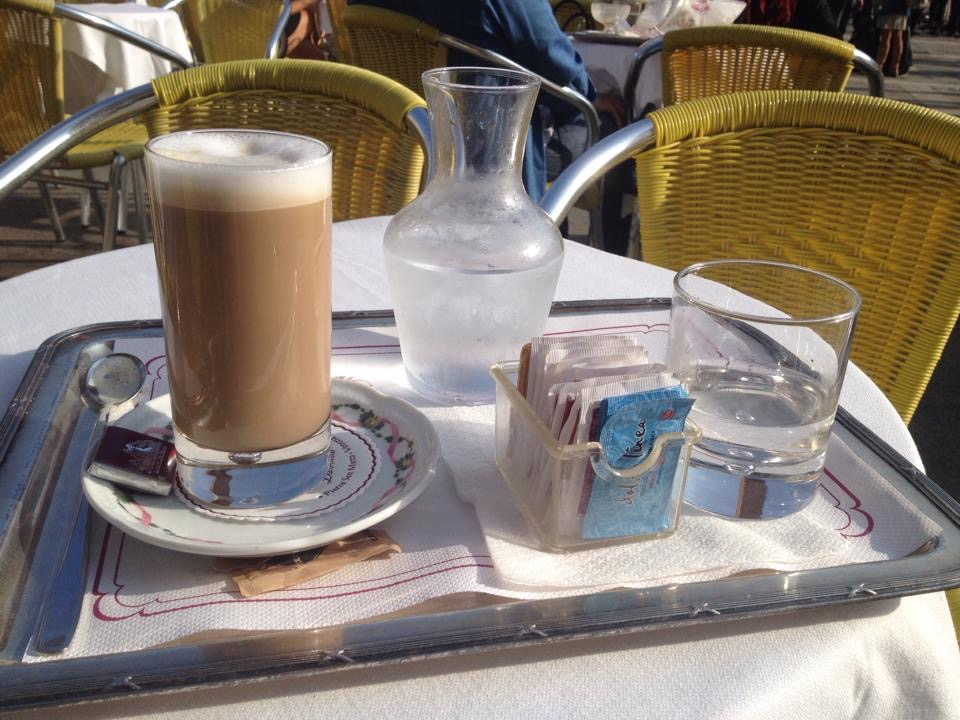 latte at restaurant in Piazza San Marco, Venice, Italy