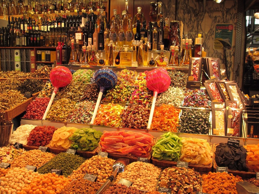Sweets at market in Barcelona