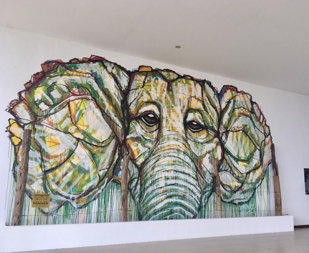 Elephant artwork in lobby of Sri Lankan hotel