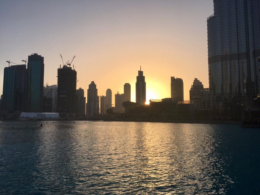 Downtown Dubai at sunset