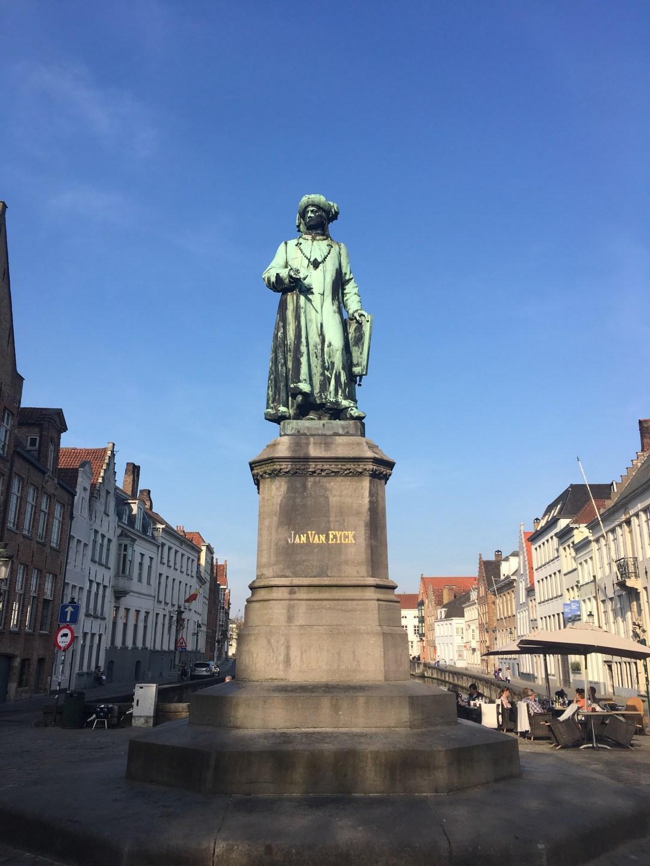 Jan Van Eyck statue in Bruges, Belgium