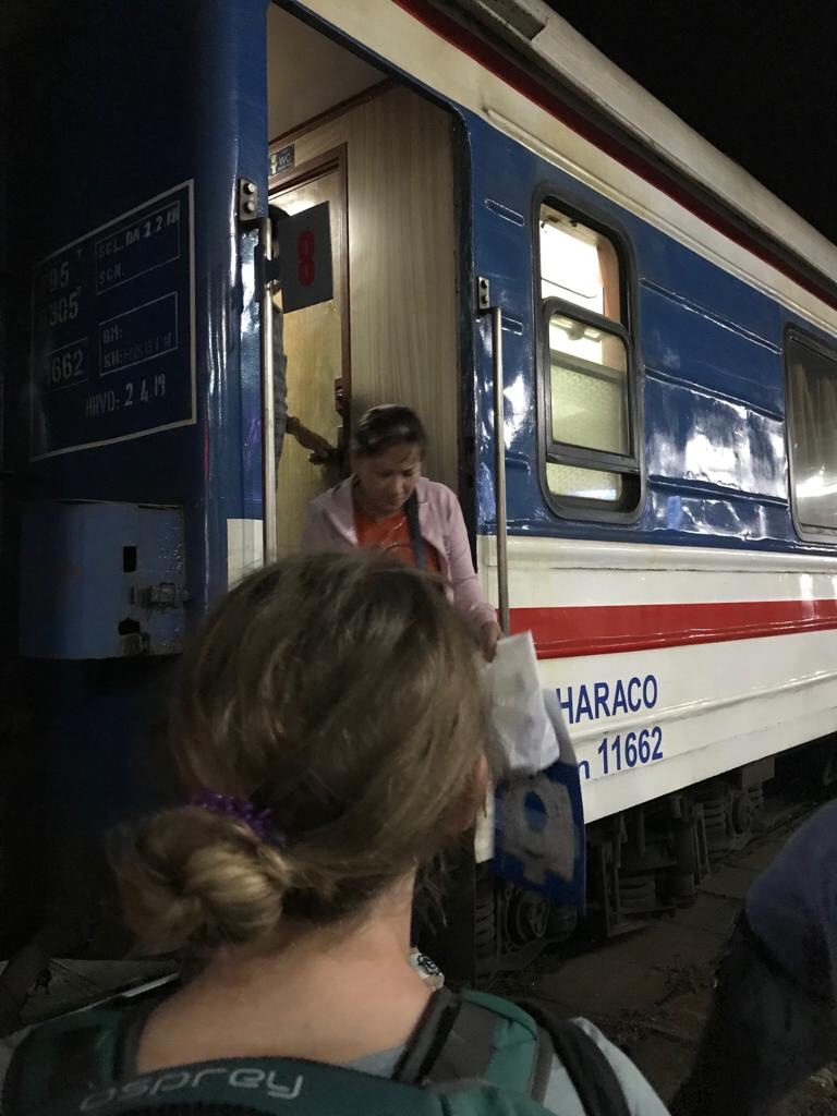 Getting on the train in Nha Trang