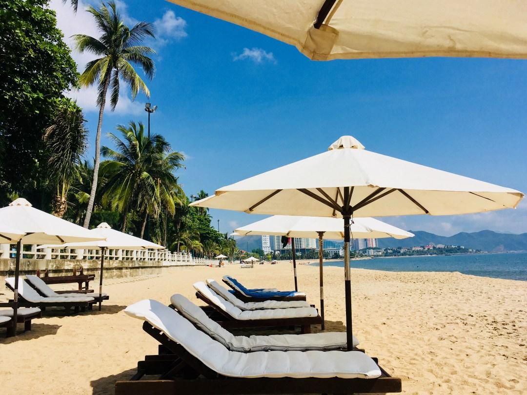 Sunloungers on Tran Phu Beach in Nha Trang Vietnam