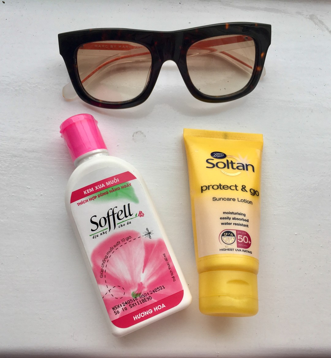 Sunglasses, sunscreen, and soffell insect repellent