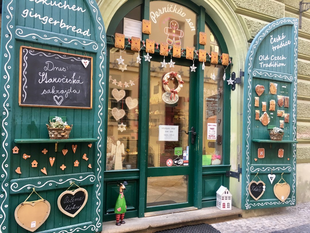 Perníčkův sen, a charming gingerbread cookie shop in Prague, Czech Republic Old Town