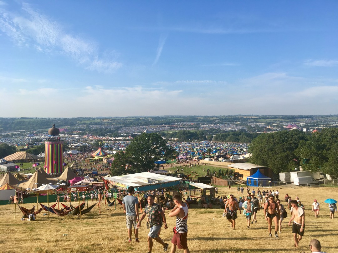 View of Glastonbury Festival at Worthy Farm in Somerset, UK