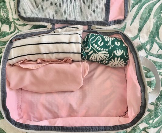 Pack for two weeks in a carry on using compression packing cubes