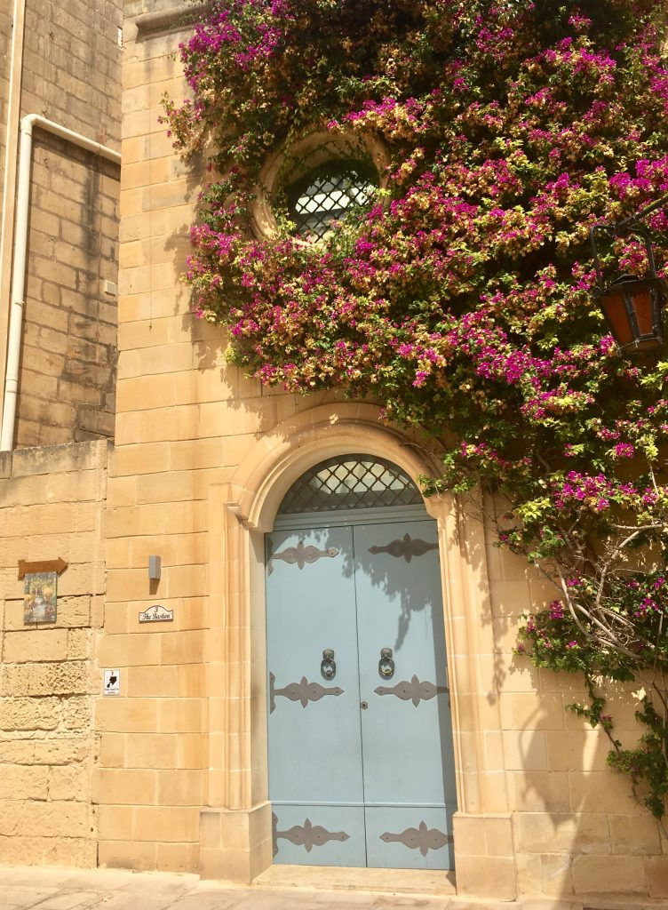 blue door with purple flowing tree in Mdina, Malta