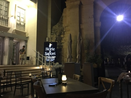 Dining outside at Storie and sapori restaurant in Valletta, Malta