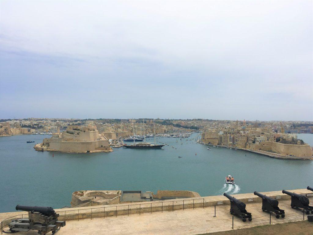View from Upper Barrakka Gardens over the Grand Harbour in Valletta