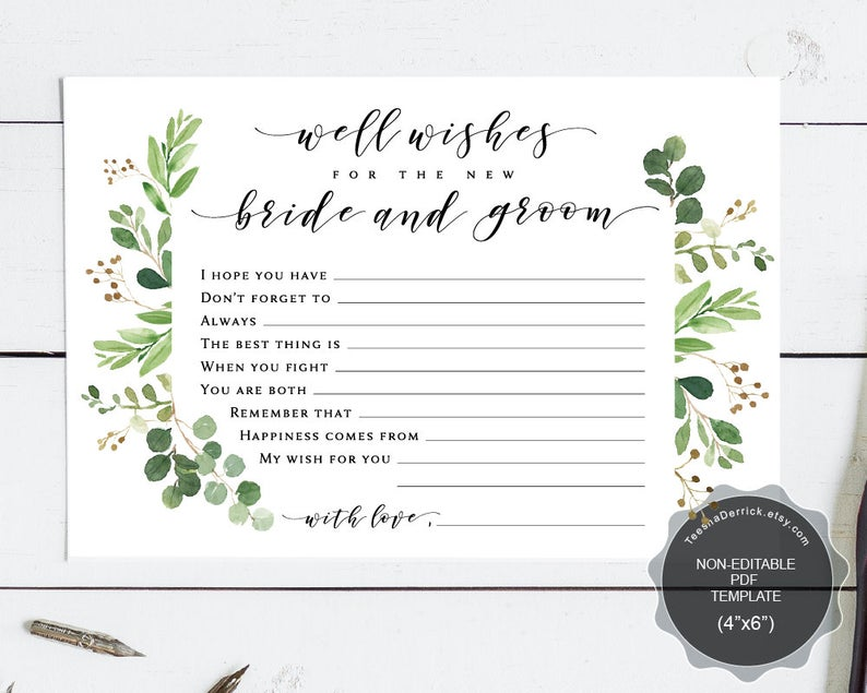 Well Wishes for the new bride and groom card template, Instant download printable PDF, marriage advice card, greenery designs
