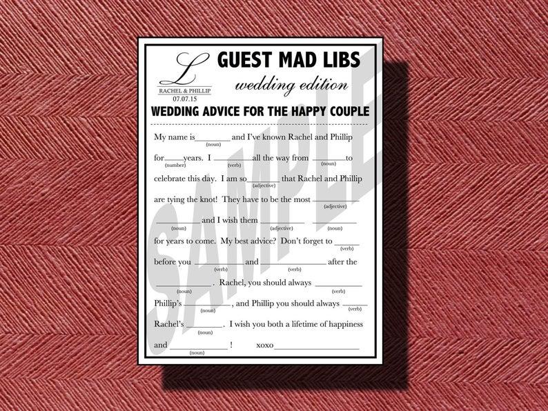 Wedding Mad Libs A Fun Guest Book Alternative Wedding Ad Libs, Wedding Guest Advice for your Wedding Or Special Event, Wedding Guest Book
