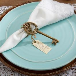key to my heart vintage wedding favor placesetting on offbeat bride