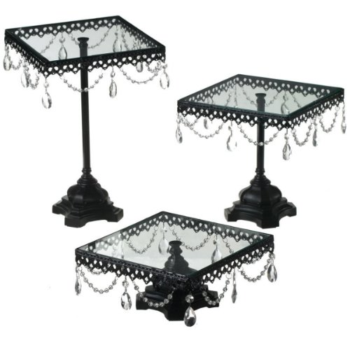 Set of 3 Fancy Jeweled Black Square Cake Stands
