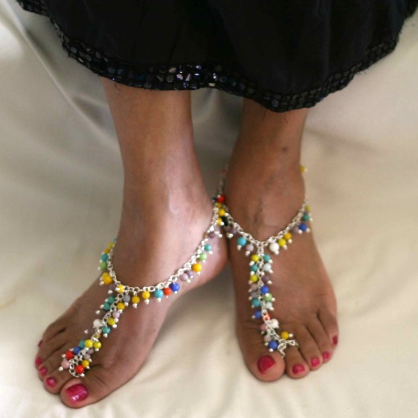 Multicolored bead barefoot sandals