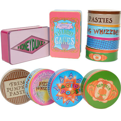 Decorate your candy bar with these Harry Potter Honeydukes Tin Assortments