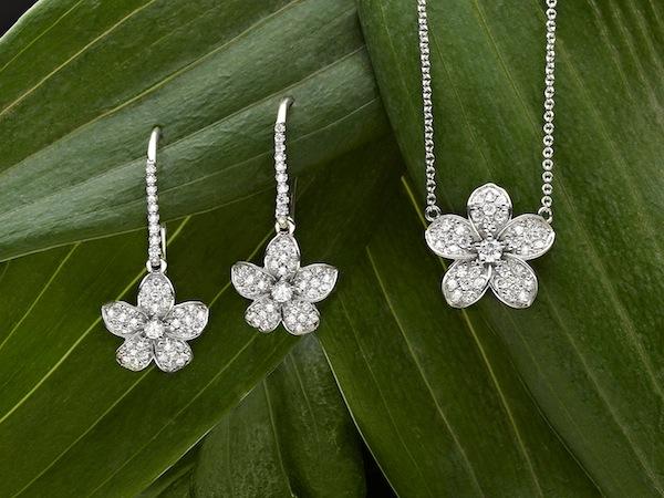 Plumeria Diamond Earrings and Plumeria Diamond Pendant