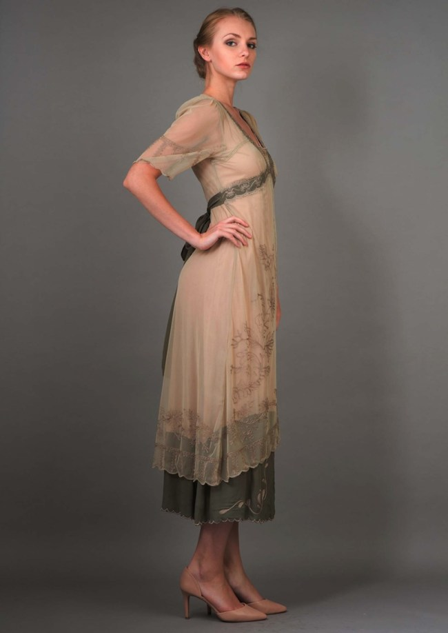 New Vintage Titanic Dress in sage.