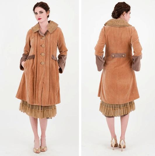 Vintage velvet ruffle coat