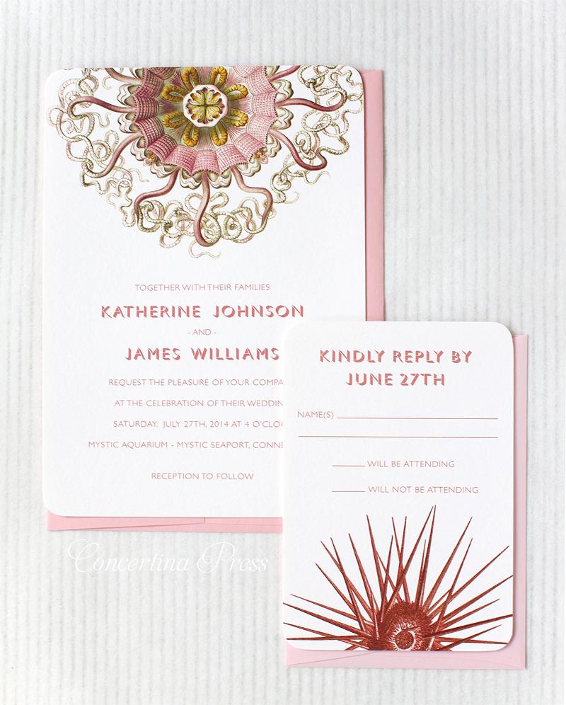 Pink Medusa Jellyfish Wedding Invitation