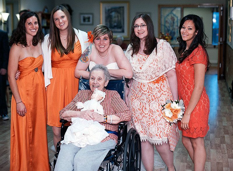 Michelle stopped by her grandma's nursing home before the wedding for this portrait.