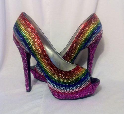 Rainbow rhinestone heels as seen on Offbeat Bride