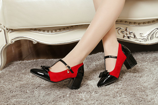2015-spring-and-summer-fashion-new-high-heels-women-pump-patent-leather-bowtie-pointed-toe-solid