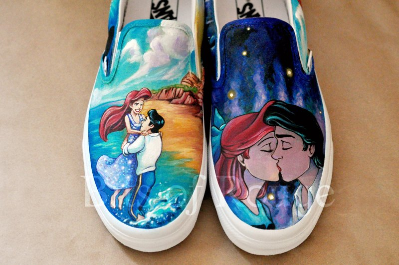 Custom Hand Painted Shoes- Little Mermaid on offbeat bride