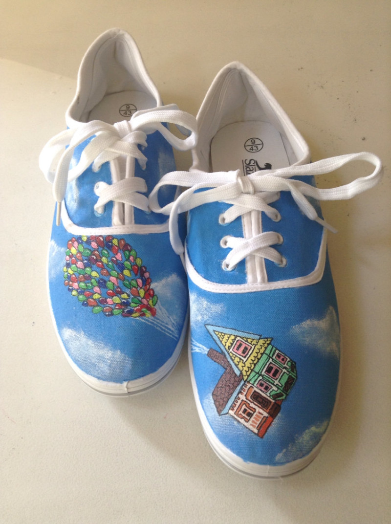 disney up hand painted shoes on offbeat bride