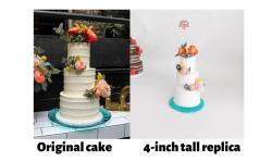 wedding cake replica ornament as seen on offbeat bride